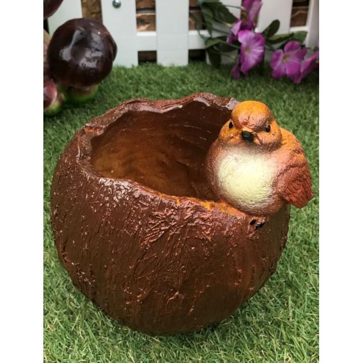 Кашпо Птичка с кокосом