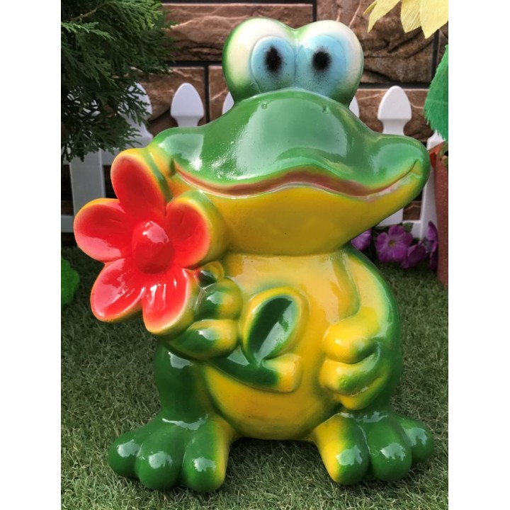Садовая фигура Лягушка с цветком