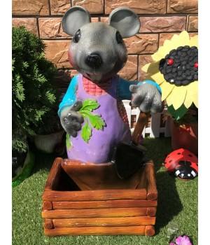 Кашпо Мышь с лопатой