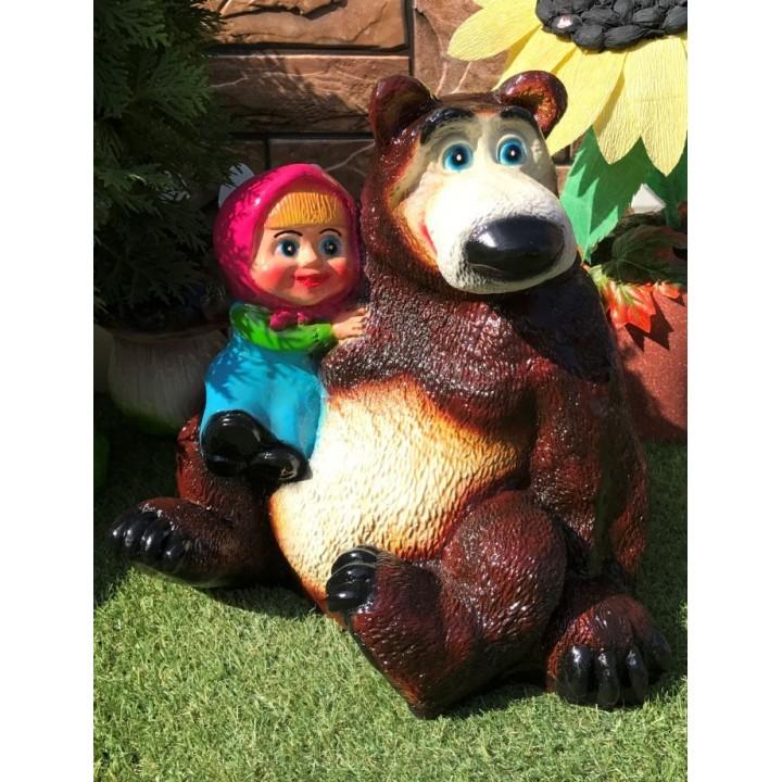 Садовая фигура Алёнка и медведь #2