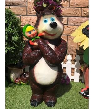 Садовая фигура Алёнка и медведь