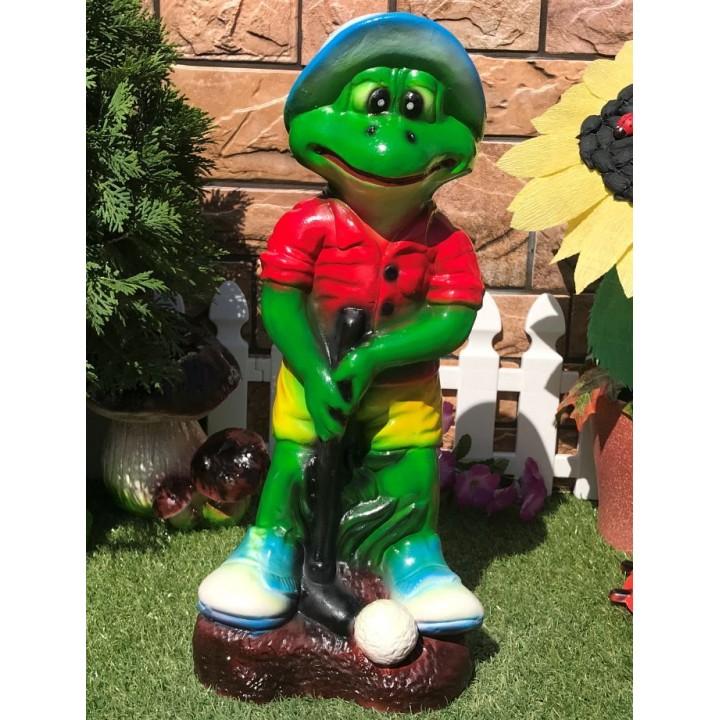 Садовая фигура Лягушка «гольфист»