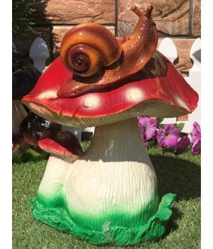 Садовая фигура Двойной мухомор с улиткой