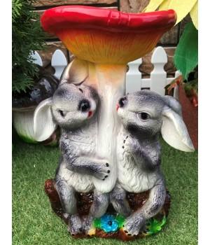 Садовая фигура Зайчата у гриба