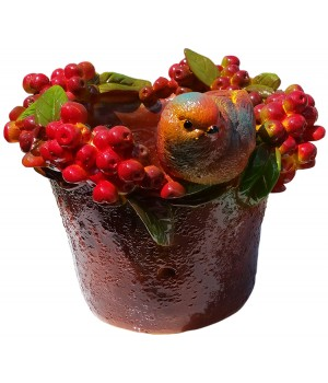 Кашпо Птичка с ягодами